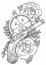 Compass Pocket Coloring Pages Tattoo Flash Gun Adults Roses Sheets Printable Cool Rose Colouring Pistol Stencil Template Steampunk Revolver Hip sketch template