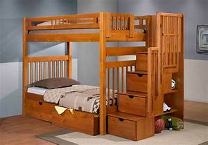Staircase Bunk Bed Pecan | Mattress Superstore