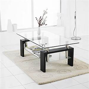 Best price neotechsr modern black rectangle clear glass for 2 shelf glass coffee table