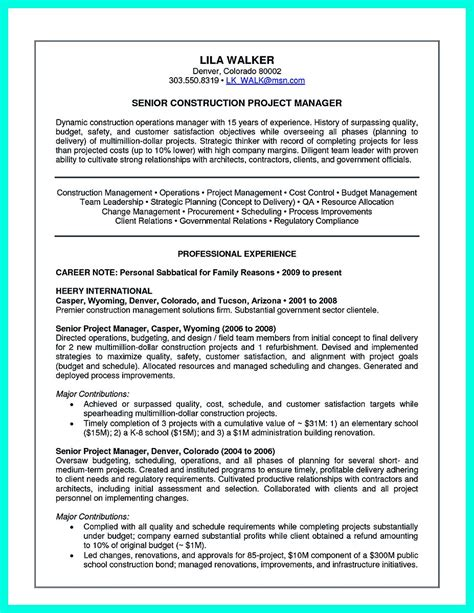 Construction Superintendent Resume by Simple Construction Superintendent Resume Exle To Get