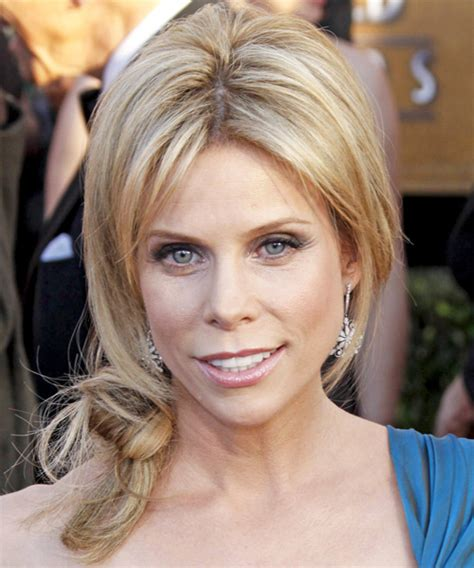 cheryl hines casual long straight updo hairstyle