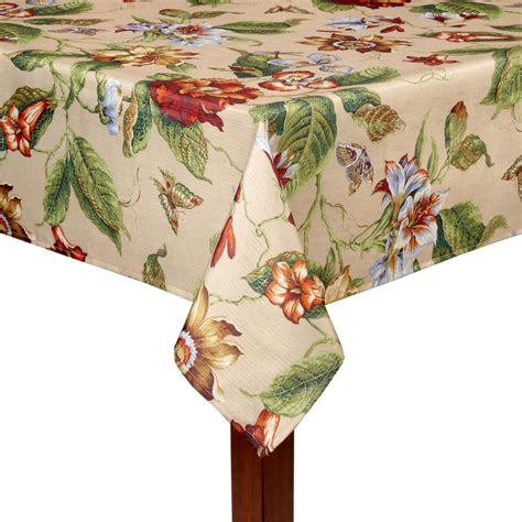 waverly 174 tan floral printed tablecloth christmas tree