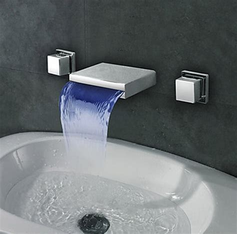 widespread wall mount waterfall  colors led bathroom sink