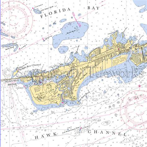 florida marathon island nautical chart decor