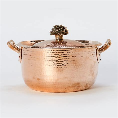 hand hammered copper saucepan terrain