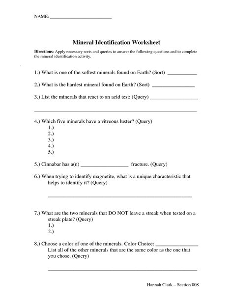 17 Best Images Of Back Page To Mineral Mania Worksheet  Mineral Mania Worksheet Answer Key