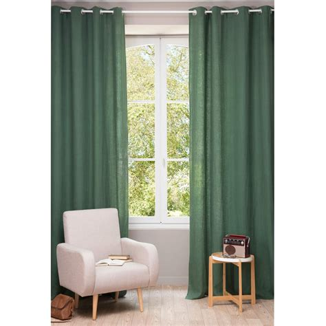 couleur chambre bebe fille rideau à œillets en lavé vert sapin 130 x 300 cm