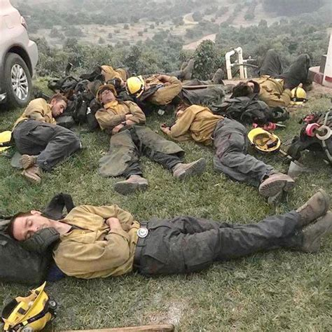 Viral Photo of Exhausted Firefighters Sleeping After ...