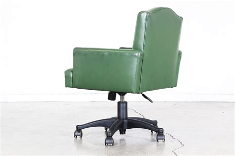 vintage green leather swivel office chair vintage supply