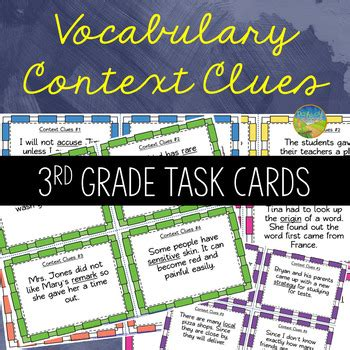 3rd Grade Context Clues Task Cards By Pathway 2 Success Tpt