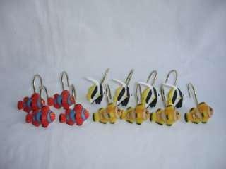 shower curtain hooks nautical compass shower curtain hooks set of 12 Fish
