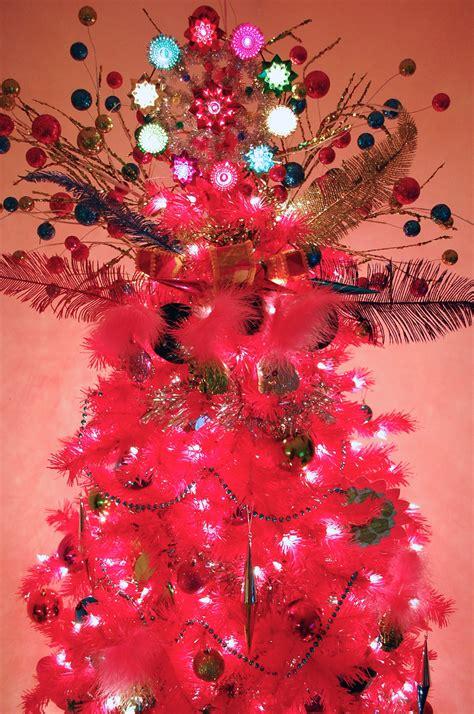 pre lit pink christmas tree elegant foot upside down