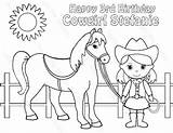 Cowgirl Coloring Horse Birthday Printable Cowboy Personalized Pdf Drawing Favor Activity Getcolorings Kid Sugarpiestudio Getdrawings sketch template