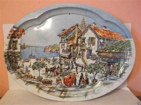 1971 daher decorated ware tin serving tray 20 quot oval metal