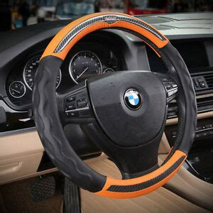 black and orange steering wheel cover sport orange no smell leather automotive car steering
