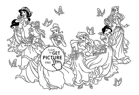 Six Disney Princesses Coloring Page For Kids, Disney