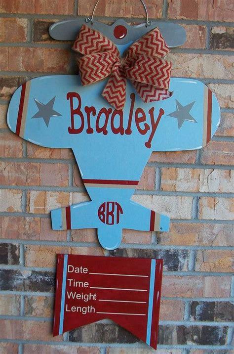 airplane baby hospital wood door hanger or room decor wall art for a boy or girl wood doors