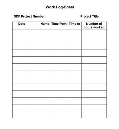 log sheet template 5 log sheet templates formats exles in word excel