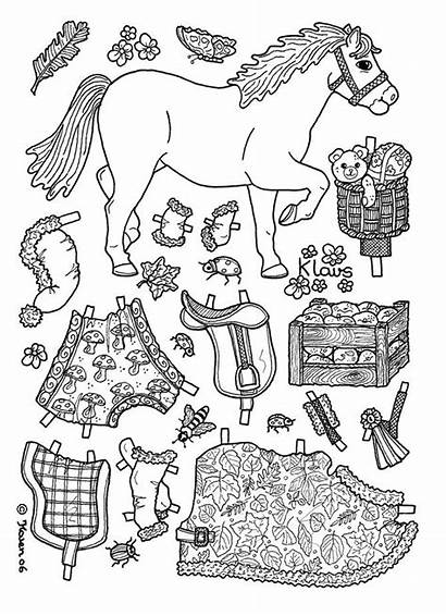 Coloring Horse Paper Dolls Doll Pages Horses