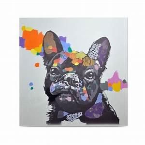 toile peinte a la main 100x100cm multicolore dog With affiche chambre bébé avec tableaux contemporains fleurs
