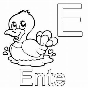 Kostenlose Malvorlage Buchstaben Lernen E Wie Ente Zum