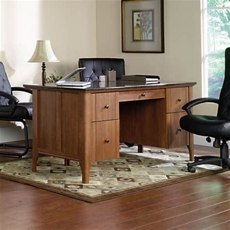 Sauder Executive Desk Office Depot by Sauder Appleton Faux Marble Top Executive Desk Sand Pear