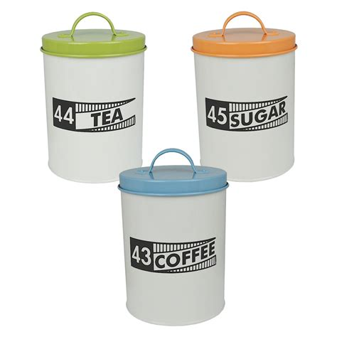 kitchen storage canisters bundle 3 coffee tea sugar ration tin canisters kitchen 3132