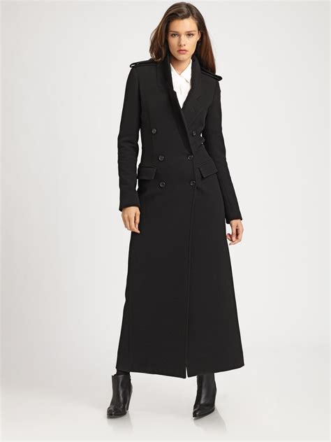 Smythe Tailored Maxi Coat in Black | Lyst