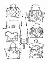 Coloring Pages Adult Handbags Adults Books Bag Drawing Printable Sketches Handbag Colouring Bags Clothes Moda Nick Jr Unique Desenhos Drawings sketch template