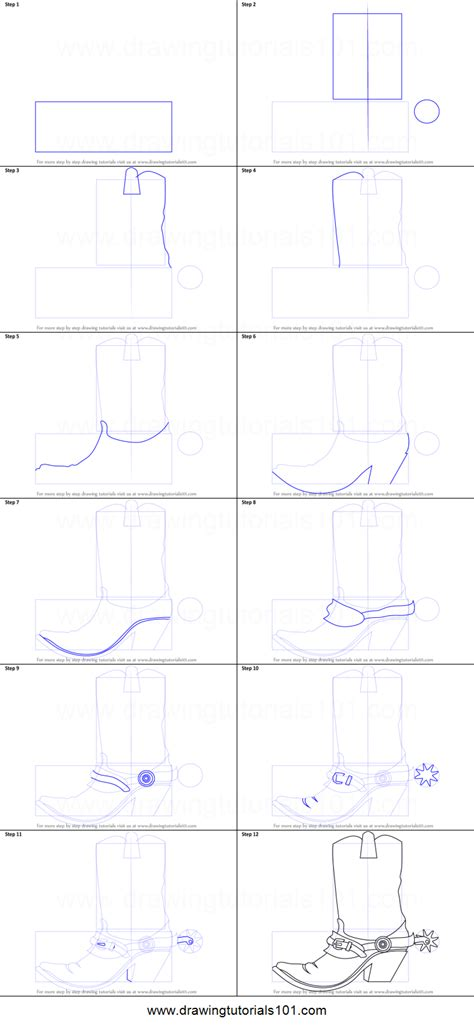 draw cowboy boots printable step  step drawing