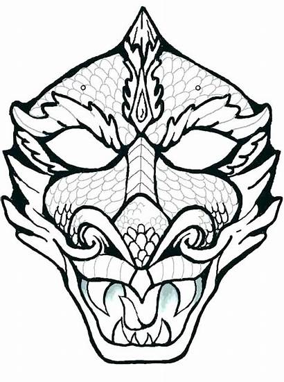African Coloring Mask Pages Dragon Totem Pole