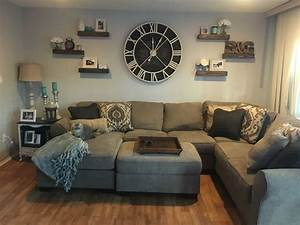 oversized wall clock with floating shelves wall clocks