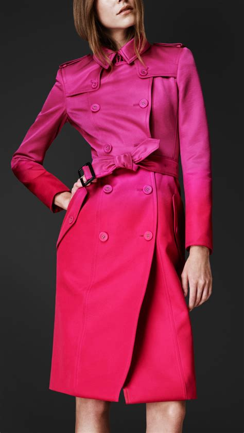 burberry prorsum satin degrade trench coat  pink lyst