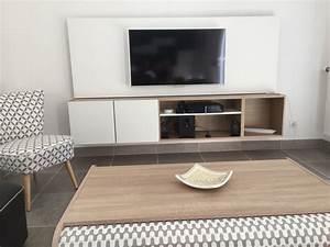 meuble tv suspendu avec panneau mdf peint en blanc caisson With meuble tv suspendu