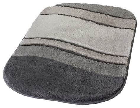 Anthracite Gray Unique Oval Non Slip Washable Bathroom Rug