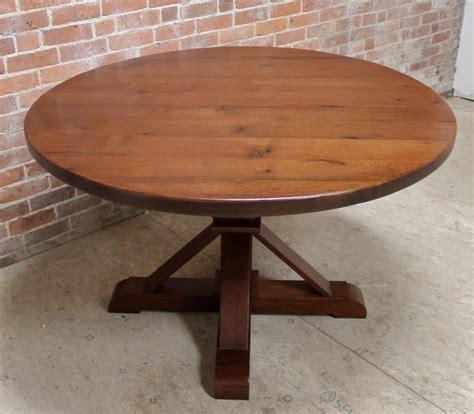 Round Reclaimed Barn Wood Dining Table  Farmhouse