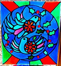 faux stained glass patterns Two Turtle Doves (Free Pattern!)