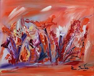 Tableau Fleurs Moderne : tableau abstrait fleurs peinture florale ~ Teatrodelosmanantiales.com Idées de Décoration