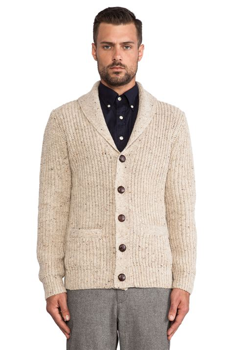 lyst gant rib shawl cardigan  white  men