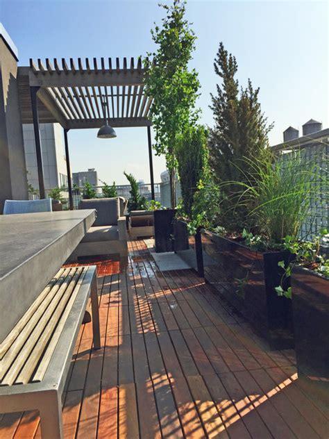 midtown nyc roof garden ipe deck tiles pergola metal