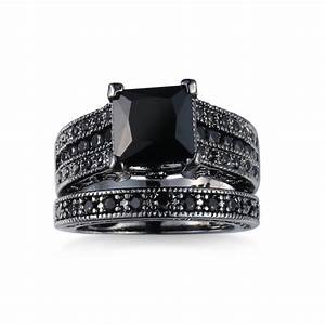black onyx princess engagement wedding ring set from lady With onyx wedding ring sets