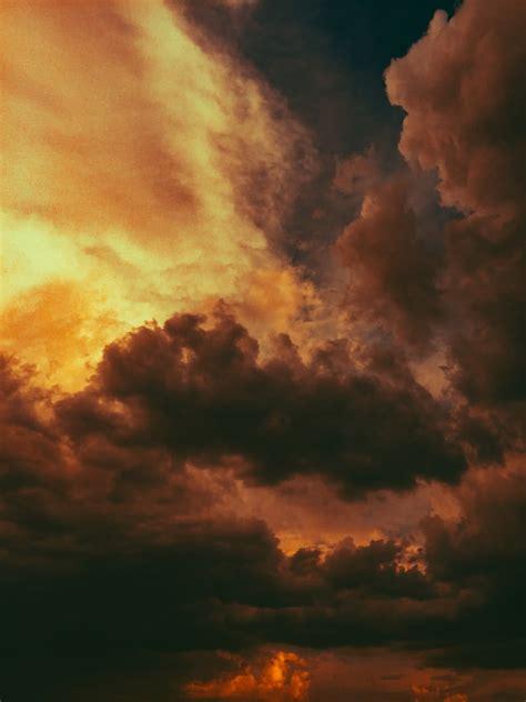 orange  blue cloudy sky photo  nature image