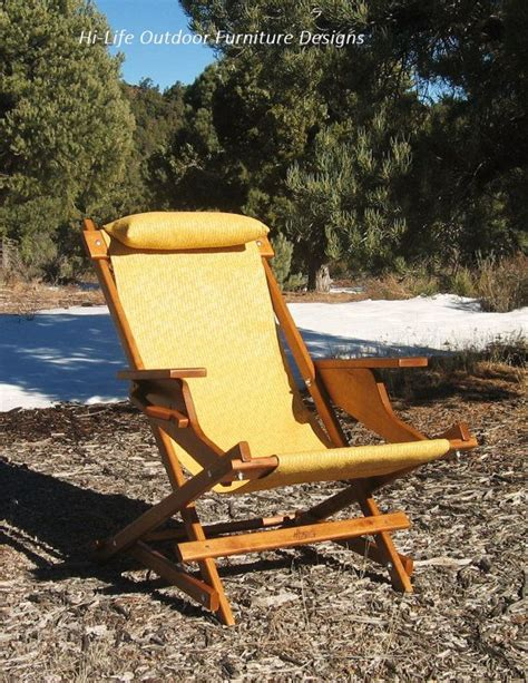 alder wood sling chair  yellow outdoor fabric arm rests