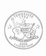 Tennessee Coloring Pages Quarter State Printables Tn Vols Usa States Print Quarters Printable Books Flag Facts Symbols Template Coins Road sketch template