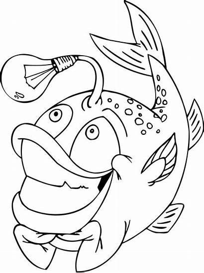 Coloring Pages Funny Printable Fish Awesome