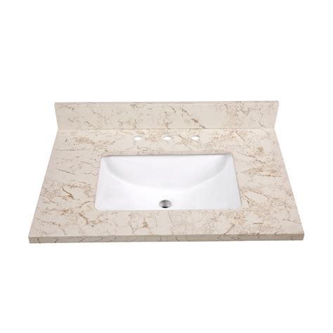 31 vanity top with sink shop allen roth marbled beige quartz undermount single