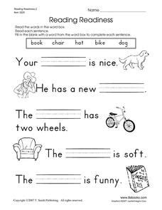 reading readiness 2 worksheet for pre k 1st grade