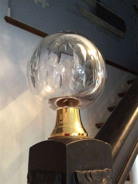 large crystal glass brass vintage newel post stair finial
