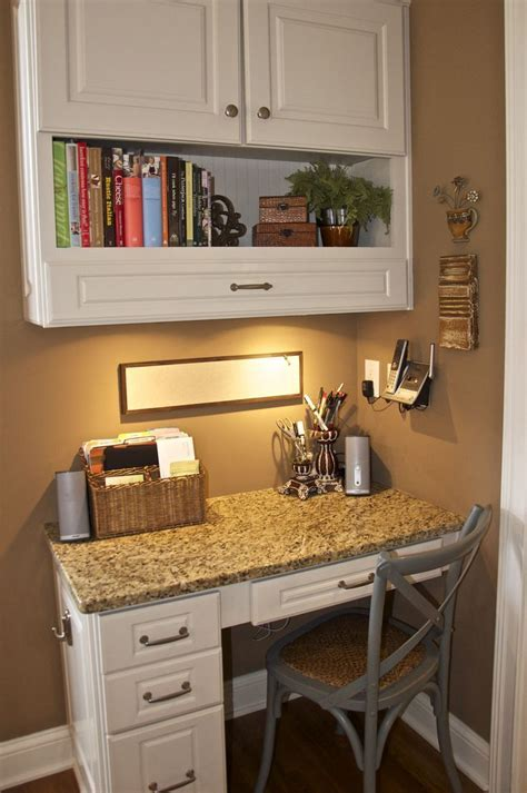 Corner kitchen desk. Pull out drawer in top cabinet would
