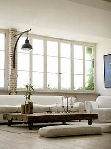 couleur lin et blanc pour salon amenage dans ancien atelier With repeindre un escalier en gris 16 revetement exterieur de cadre rouge photos